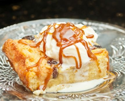 Bourbon Bread Pudding with Vanilla Ice Cream and Homemade Caramel Sau ...