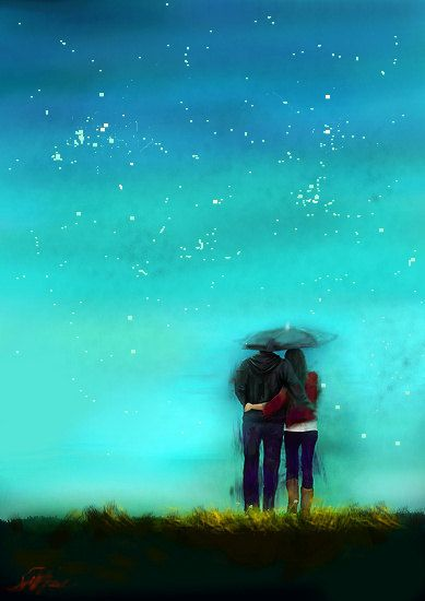Couple in the Rain art painting landscape painting wall