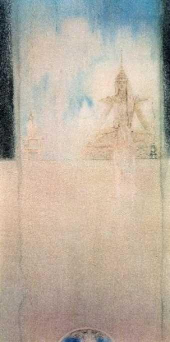 DESCRIPTION Crayon, craies et crayons de couleur sur papier, fixé, posé sur toile Monogramme (au crayon noir) dans le bas à droite : FK Dimensions : 904 x 454 mm Origine : Don de Madame André Thibaut de Maisières, Seneffe, 1963 ARTISTES Fernand KHNOPFF