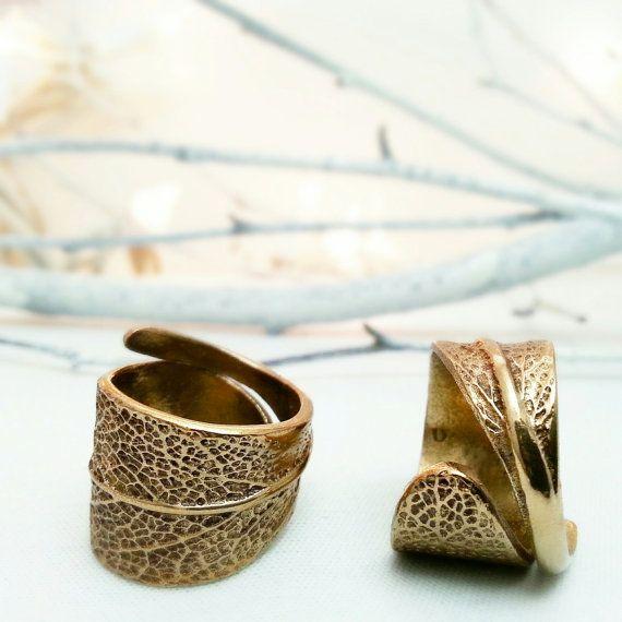 Bague feuille - Bague bronze - Feuille de sauge - Bague dorée - Doré - Rustique - Nature - Forestier - Campagne chic