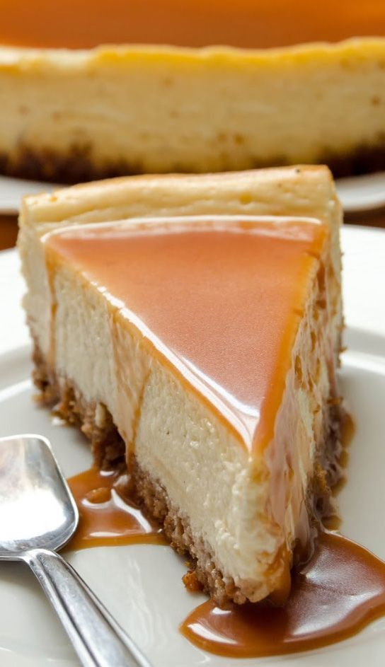 White Chocolate Cheesecake with Amaretto Caramel Sauce