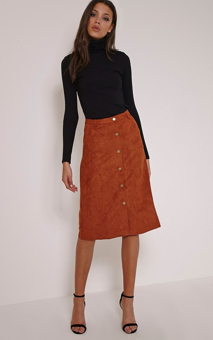 Zahara Rust Faux Suede Button Down Midi Skirt Meeting