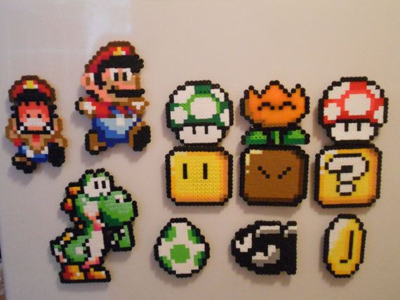 Mario perler bead magnets how awesome is that! I love how accurate the designs…