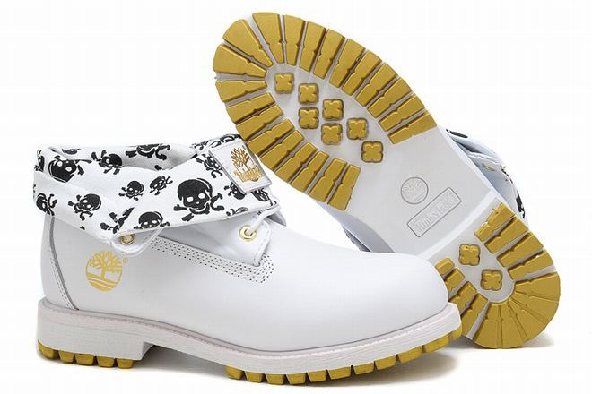 cheap Mens Timberland Roll Top Boots White Black Yellow on sale