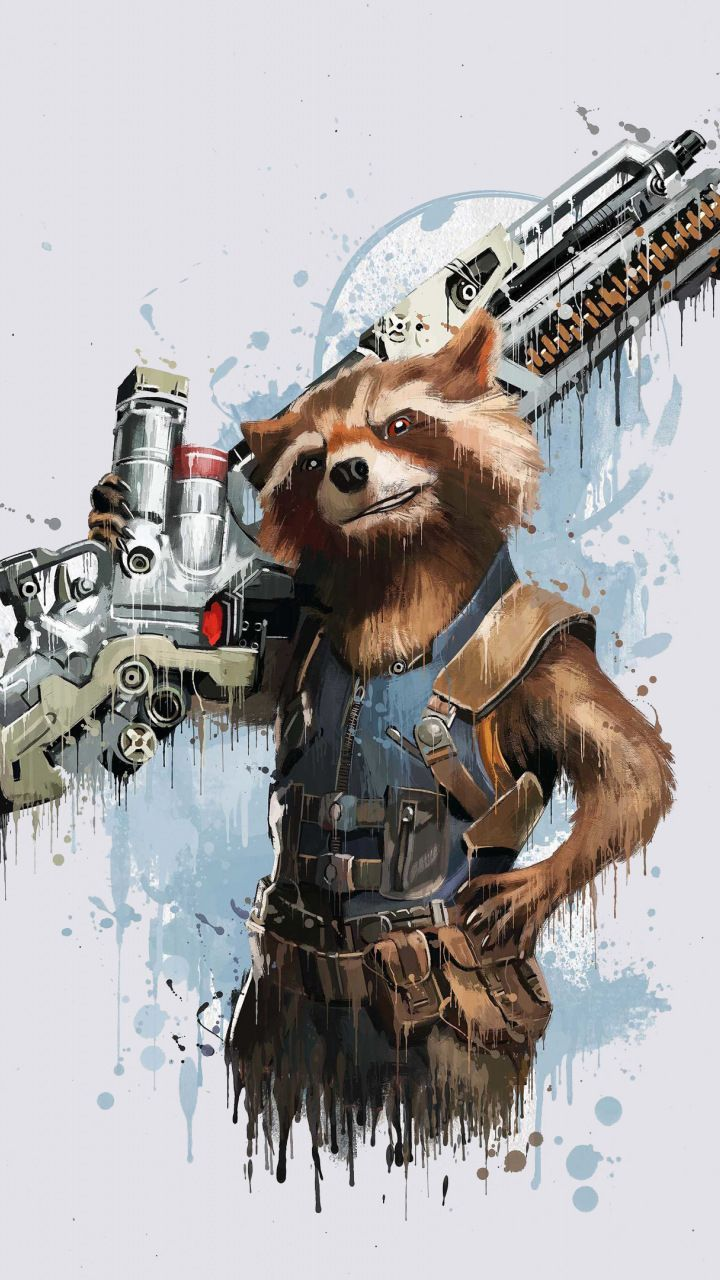 Rocket Raccoon, Avengers: infinity war, minimal, art, 2018, 720×1280 wallpaper