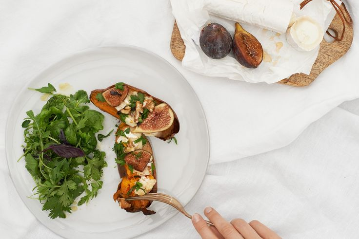 Baked Sweet Potato with Goats Cheese & Figs