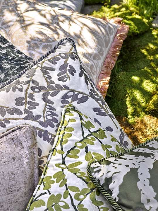 Features: Various Robert Allen Enchanting Color collection fabrics in Moss, Blue Pine, and Blush. #fabric #design #upholstery