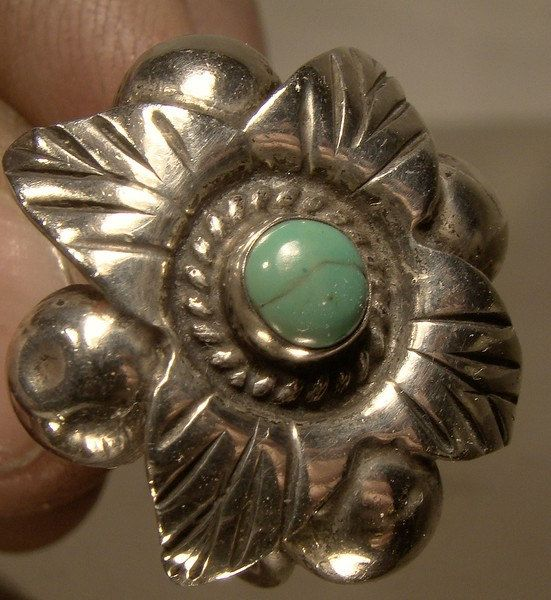 Southwest Sterling Silver and Natural Turquoise Ring 1920s