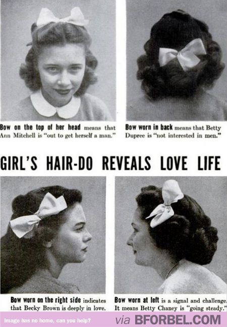 What girls hairstyles reveal about their love life, according to a vintage ad