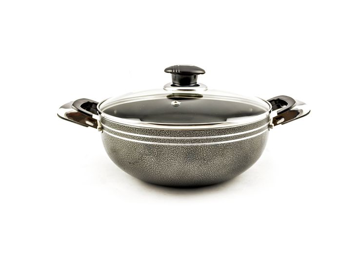 Buy Grey Non-Stick Wok With Glass Lid – 22 cm - Non Stick Frying Pans & Woks and more Homeware, Kitchenware and Cookware products at Popat Stores. #FryPan #NonstickFryPan #Cooking #Cookware #Homeware #Kitchenware