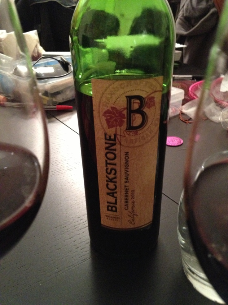Blackstone  Cabernet Sauvignon 2010 California  $9.99 Whole Foods  full flavor (cherry with cinnamon), not too strong. Great taste and value. Ate with pork chops and potato.   3 stars