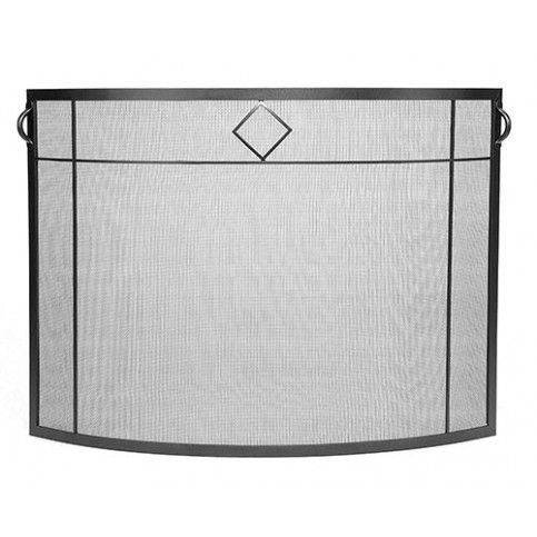 THE WELL APPOINTED HOUSE - Diamond Curved Fireplace Screen in Graphite - Fireplace Accessories - Decorative