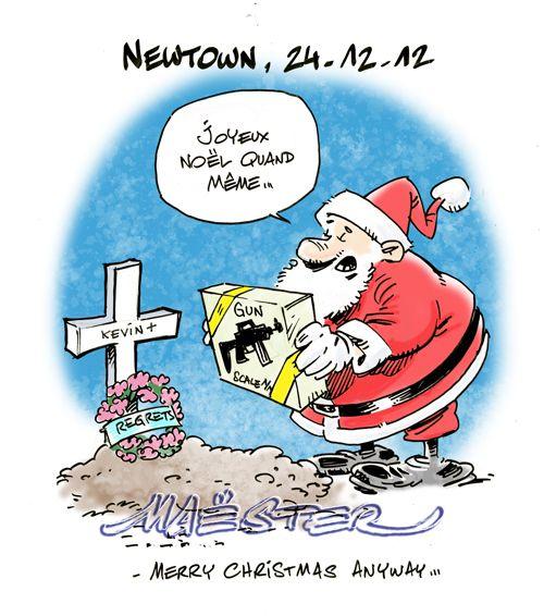 Humour noir. Suite à la tuerie de Newton, 20 enfants tués. 2nd amendment. Aux États-Unis, on fabrique et on offre des carabines et de vrais pistolets aux enfants. Roses pour les fillettes.