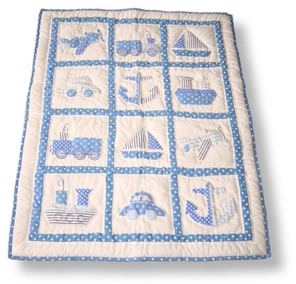 Luxury Blue Baby Patchwork Quilt from Powell & Craft