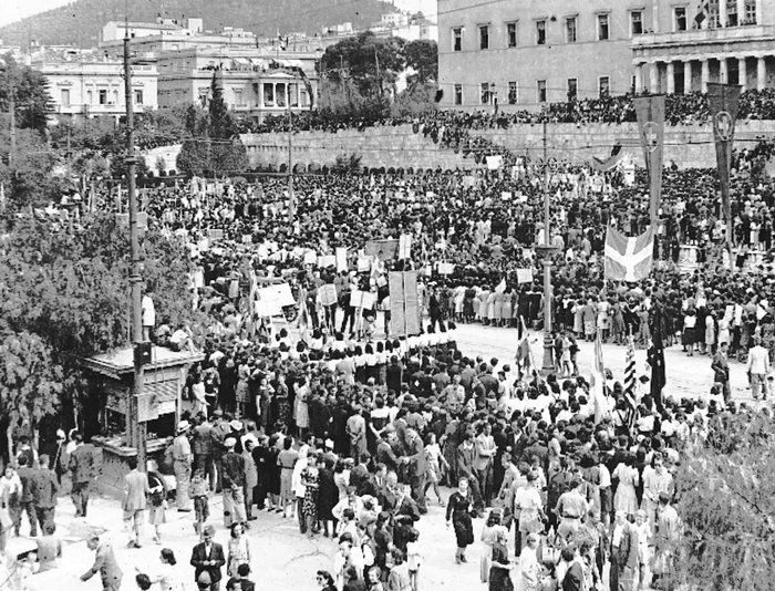 On 12 October 1944, as the last German soldiers took the swastika down from the Acropolis and began to drive through the city towards the road north they passed through crowds of Athenians in a state of joy, waving the blue and white Greek flags, embracing, while bells were ringing all over the city.
