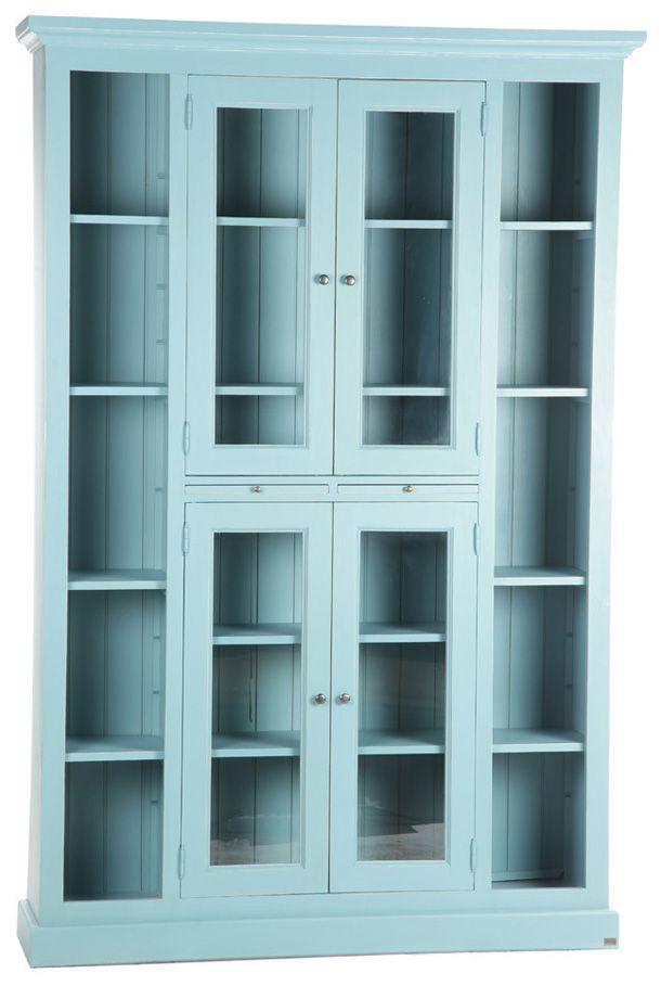 D626 Библиотека с 4 стеклянными дверцами голубая, мебель в стиле кантри и прованс для кабинета или детской, интернет-магазин в Москве