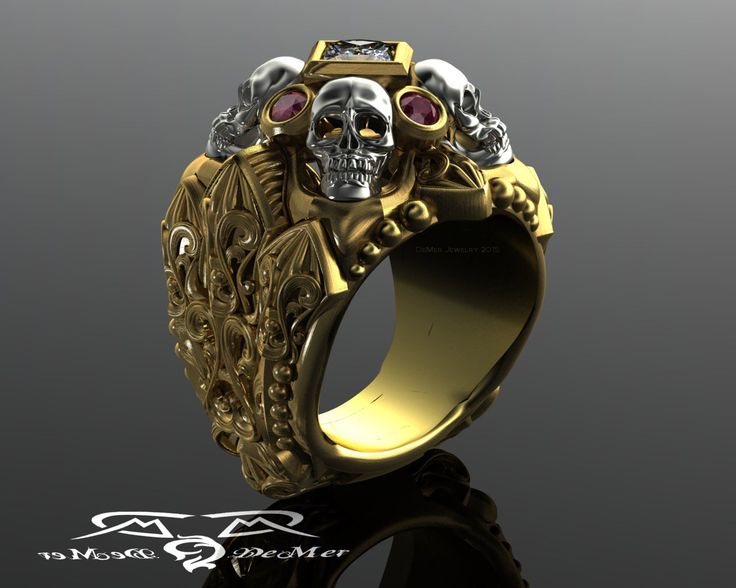 Gothic skull and reliquary memento mori mens ring in solid 14kt gold with princess cut diamond and natural marsala ruby cathedral rockstar. by DeMerJewelry on Etsy https://www.etsy.com/listing/253629636/gothic-skull-and-reliquary-memento-mori