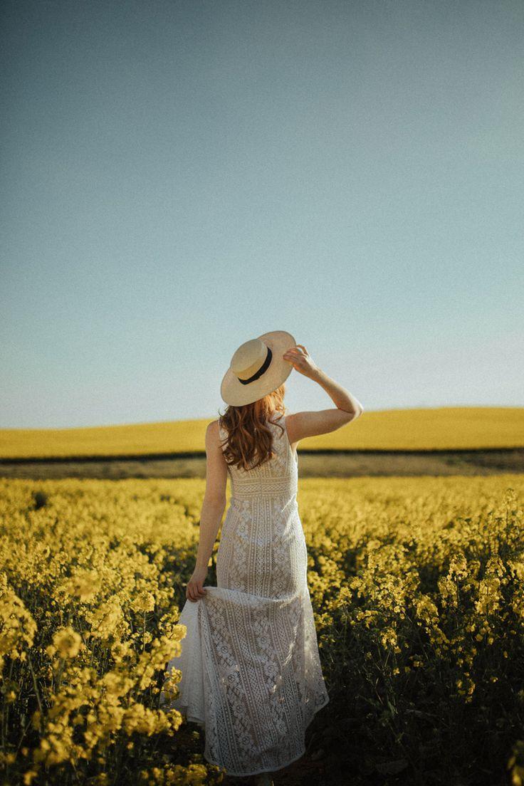 A Wander Through the Wildflowers | HOORAY! Mag  | Canola Fields | Flower Fields | Lover The Label | Wedding Dress | White Lace Gown | Devojka Models |