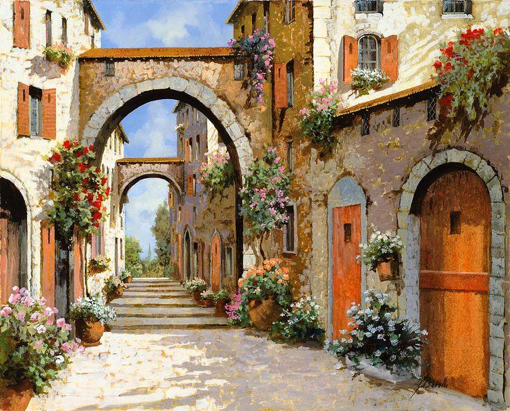 Le Porte Rosse Sulla Strada Painting by Guido Borelli