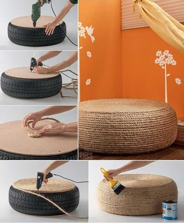 34 Fantastic DIY Home Decor Ideas With Rope! What A Cheap And Effective Way  Of Creating Something Chic And Simple For The Home Using A Tyre, Rope Glue  And ...