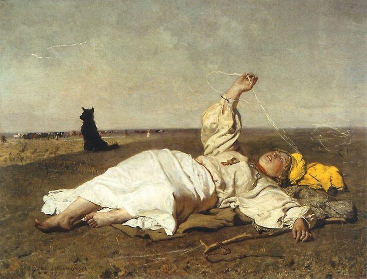 Jozef Chelmonski........Babie lato  1875. Olej na płótnie. 119,7 x 156,5 cm.  Muzeum Narodowe w Warszawie.