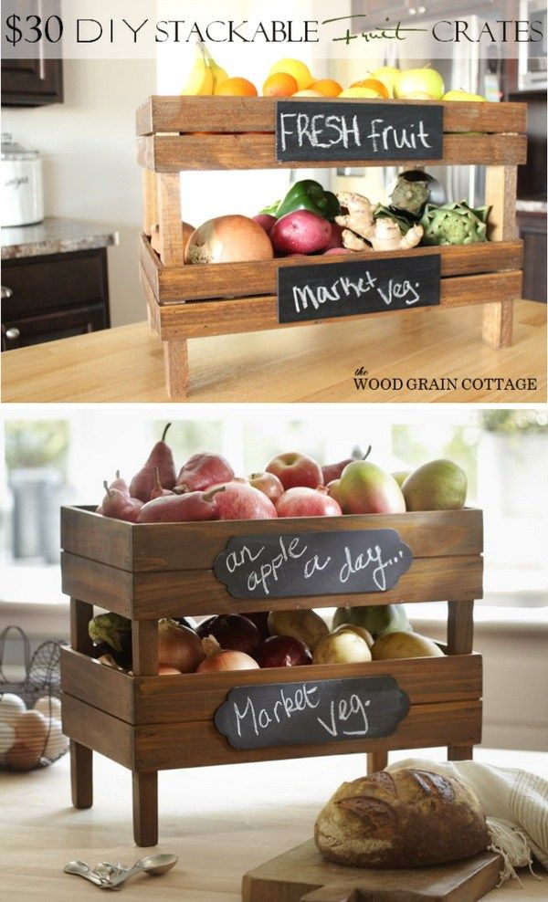 DIY Stackable Fruit Crates. Add storage to your kitchen with this creative stackable crates. It is great for fruit or vegetable storage!