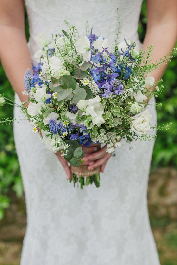 Bouquet Flowers Bride Bridal White Fresh Pretty Blue Country Barn Spring Wedding http://karenflowerphotography.com/