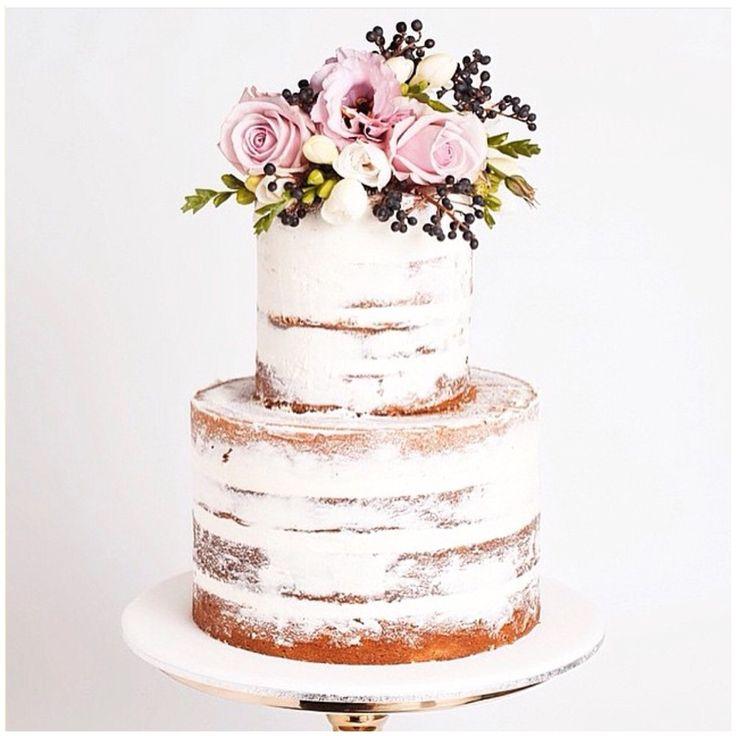 Naked 2 tiered wedding cake