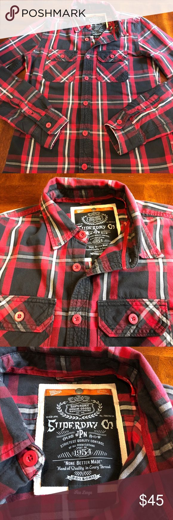 Men's Superdry button up shirt For sale is a men's size Large ( may fit a bit smaller ) Superdry shirt. Very good used condition. Superdry Shirts Casual Button Down Shirts