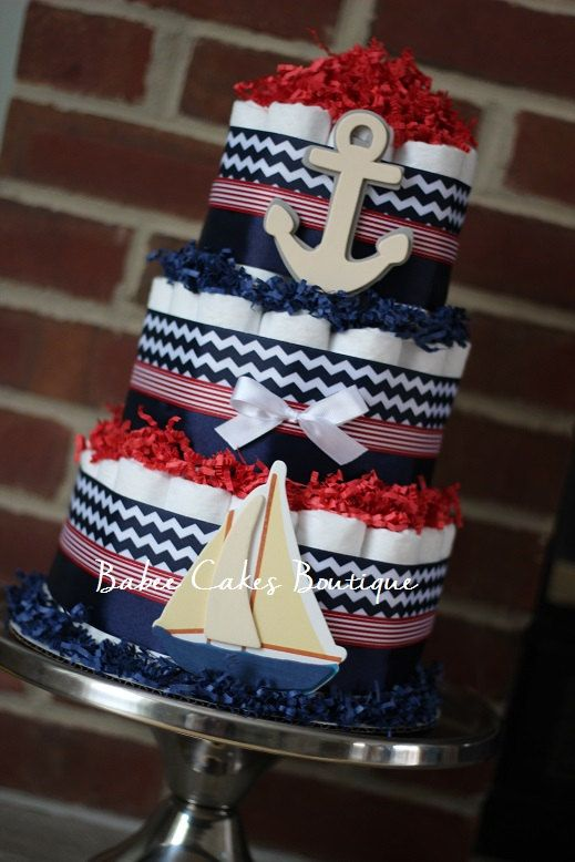 3 Tier Nautical Diaper Cake, Red and Navy, Boy Baby Shower, Nautical, Sailboat, Anchor, Nautical Baby Shower, Baby Shower Centerpiece