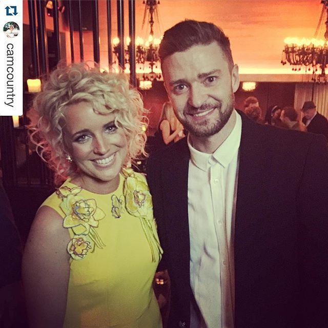 #Repost @camcountry with @repostapp. ・・・ What. Happened. Last. Night. #CMAawards .... A little sneak peak of Cam's outfit, wearing Yellow Flower Detailed Jumpsuit @sissaeqipao last night while posing with Justin Timberlake #nbd #CMAawards #RedCarpet #CelebrityStyle #AwardSeason #BrooklynPR #LAshowroom #countrymusic #loveit #liketoknow #style #fashion #yellow #flowerdetailing