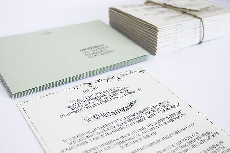 Bruiloft Jurgen en Pien   Trouwkaartjes, enveloppen en brief van ceremoniemeester