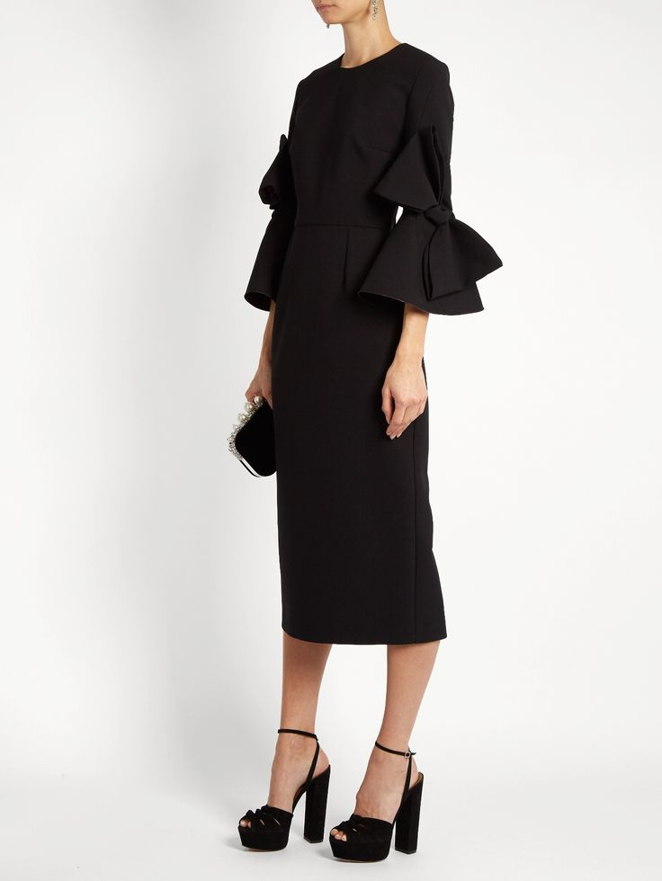 ROKSANDA Lavete bow-sleeved crepe midi dress