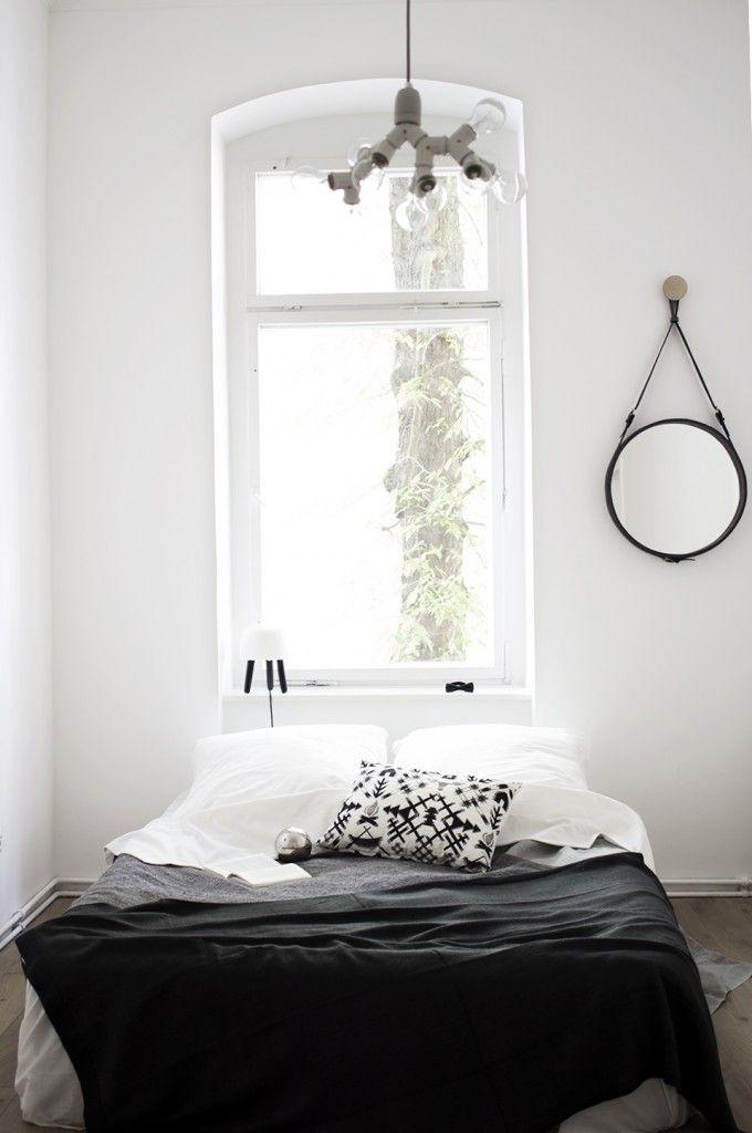 black & white bed