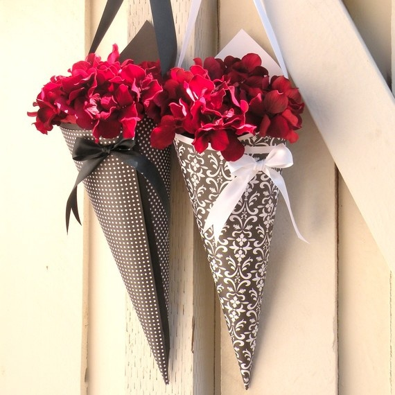 paper cones with flowers