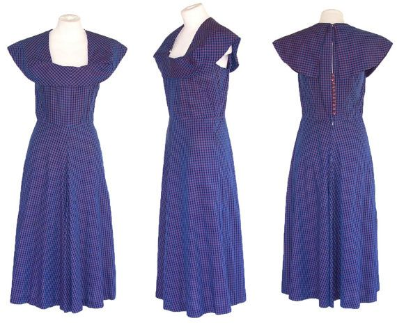 50s Dress Vintage Cotton Blue Gingham Sundress Dramatic Collar S to M Free Domestic and Discounted International Shipping