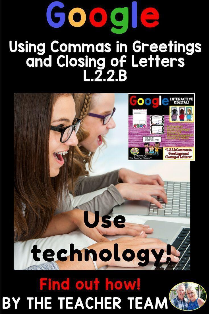Commas in Greetings | Google Classroom Activities L.2.2.b