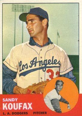 sandy koufax baseball card   1963 Topps Sandy Koufax #210 Baseball Card Value Price Guide