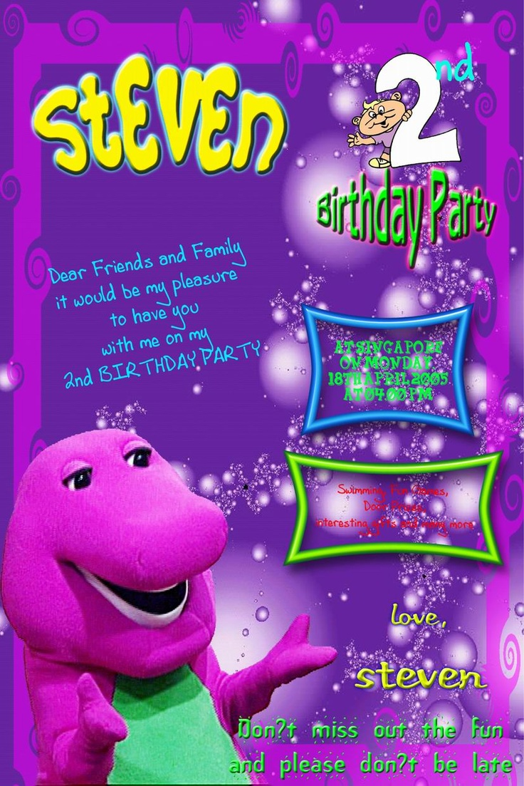 barney and friends birthday invitations