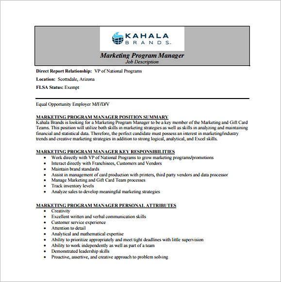 Free Marketing Program Regional Manager Job Description Pdf Download Applying For Regional Manager Manager Resume Job Description Template Programme Manager