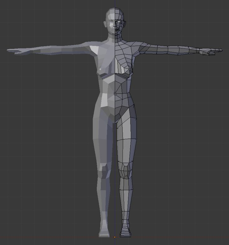 """A low-poly (748 faces, all quads) female human meant to be used as a base mesh for your characters. No rig, but the model should have the right edge loops for good animation. Made for Blender 2.5. [br][url=""""http://opengameart.org/content/low-poly-human-male""""]Male equivalent[/url]"""