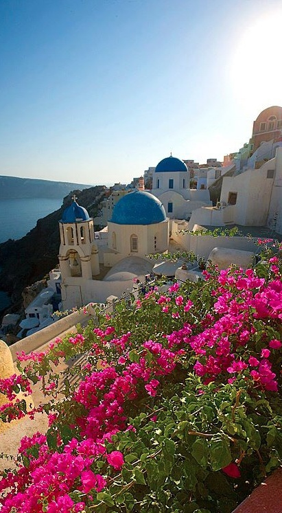 Lush balcony in Oia village, Santorini island, Greece. - selected by www.oiamansion.com