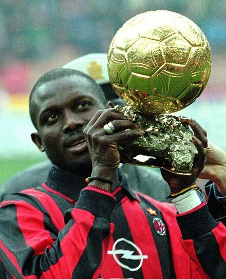 GEORGE WEAH at Milan holding the Ballon d'Or in 1996