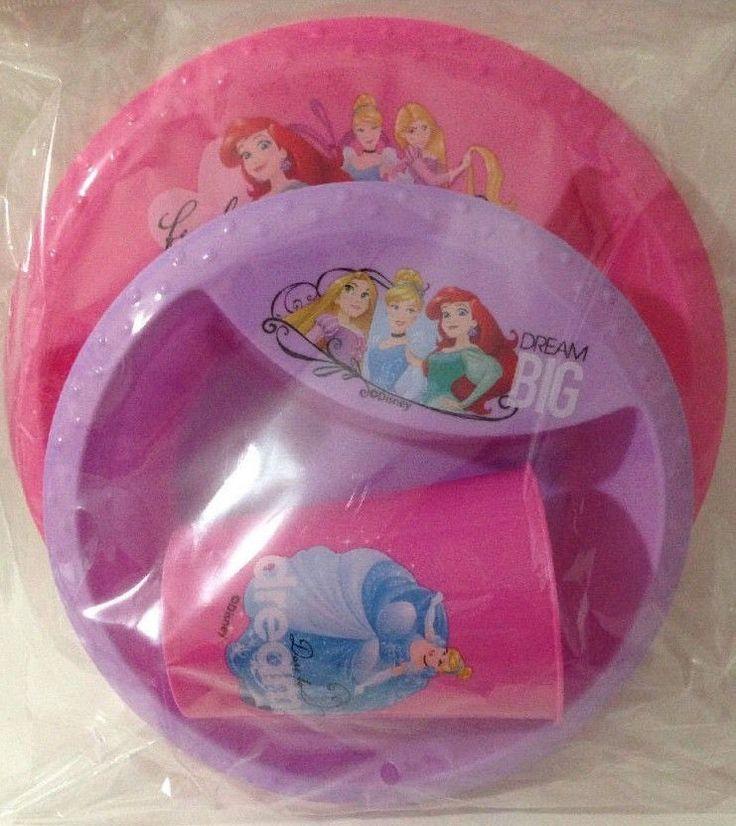 NEW Disney Princess Girls 3 Piece Dinnerware Set Plate Cup Bowl BPA Free By Zak #Zak