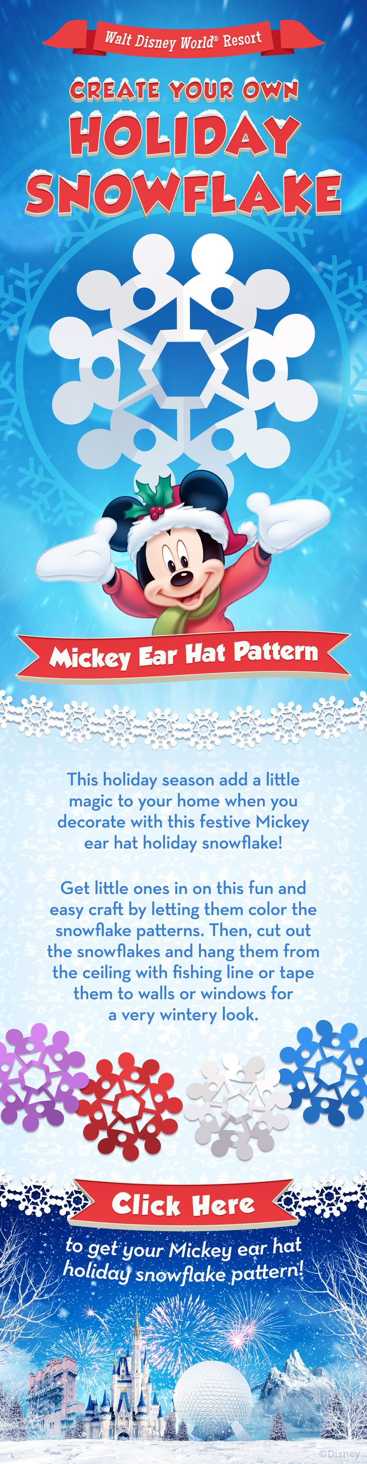 Create a fun Mickey Ear Hat pattern snowflake! #crafts #disney #kids