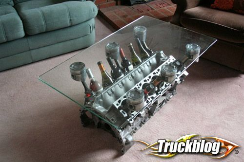 v8 engine block coffee table truckblog automotive furniture pinterest top. Black Bedroom Furniture Sets. Home Design Ideas