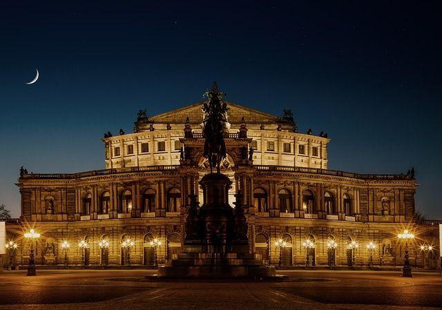 ドレスデン, ゼンパー オペラ ハウス, 歴史的に, 夜です, 建物, 市, オペラハウス, ザクセン