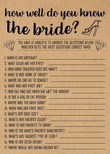 Wie gut kennst du sie, Bridal Shower Spiele Ausdru…