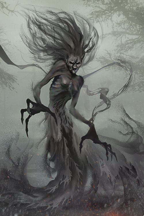 Banshees are Unseelie fae, and act as enforcers, bouncers, and even assassins. Their songs are laced with death curses and hexes. Anyone who hears a banshee song dies. It's only a question of when. Their true form is ghastly, but they can adopt far fairer forms if need be. They usually take Unseelie partners, but they often intermarry with other races.