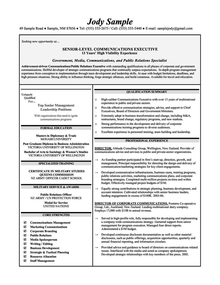 10 best Resume Samples images on Pinterest Administrative - resume for executives